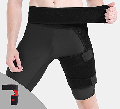 Groin Brace - Support For Joint Pain, Pulled Groin, Sciatic Nerve Pain, Hip, Thigh, Hamstring Injury, Recovery and Rehab - Adjustable Compression Wrap by hothuimin