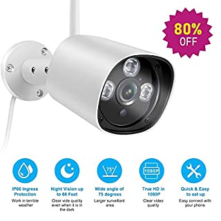 1080P Wireless WiFi Bullet Outdoor IP Security Camera with Night Vision up to 66ft, Motion Detection,IP66 Waterproof, Support Timeline Playback, Turn On/Off Camera Code 80R7W7XF
