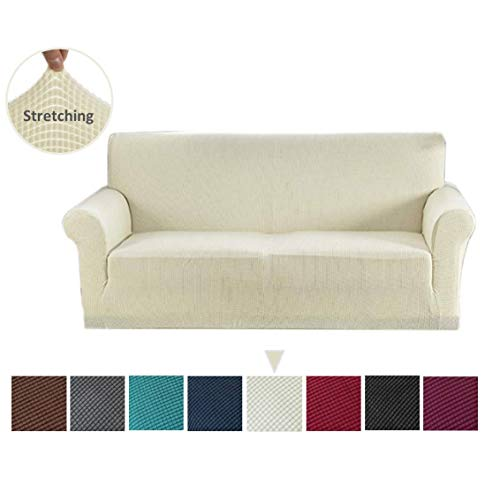 Argstar Jacquard Loveseat Sofa Slipcover, Cream White Stretch Love Seat Couch Slip Cover, Spandex Furniture Protector for 2 Cushion Seater Living Room, Machine Washable (Seat Love White Cover Couch)