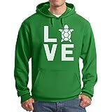 Tstars TeeStars - I Love Turtles - Animal Lover Turtle Print Cute Hoodie Medium Green
