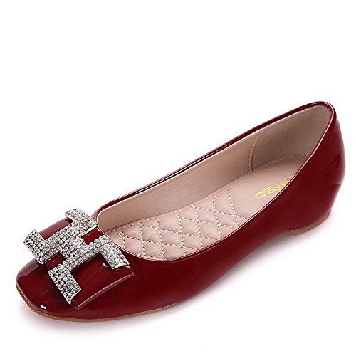 AalarDom Damen Weiches Material Ziehen Auf Quadratisch Zehe Niedriger Absatz Pumps Schuhe Weinrot-Lackleder
