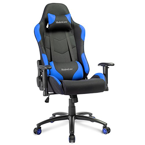 Modern Luxe Reclining Fabric Racing Office Chair Computer Gaming Chair (Blue) by Modern Luxe