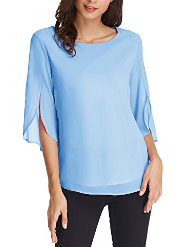 GRACE KARIN Women Basic Chiffon T-Shirt Blouse Casual Blouse 3/4 Sleeve Size XL Light Blue