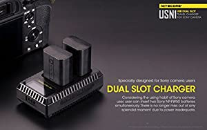 Nitecore USN1 Digital Dual Slot Travel Camera Charger for Sony NP-FW50 Batteries, Compatible with a5000, a5100, a6000, a6300, a6500, a7, a7 II, a7R. a7R2, a7S, a7s II, DSC-RX10s and LumenTac Adapter from Nitecore