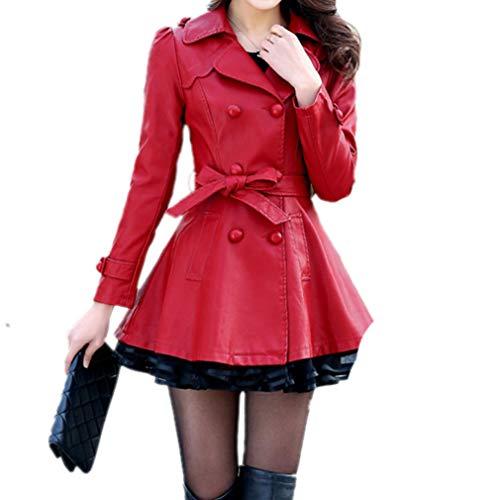 Chaqueta Larga Cuero Para Honghu Imitación Encaje Mujer Dobladillo La Manga Gabardina Botonadura Rojo1 Cinturón Doble De I6d0qdw