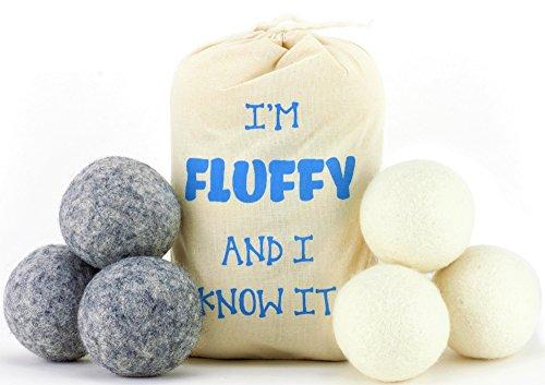 Feeling Fluffy New Zealand Wool Dryer Balls 6 Pack, Natural Softener