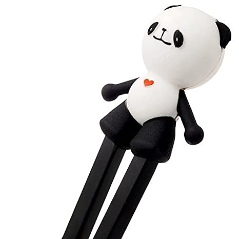 Huuiy Panda Mignon Plastique Baguettes avec coque en silicone Guide Connectoraids dentra/înement pour enfant