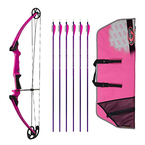 Genesis Archery Original Compound Bow (Right Hand, Purple) with Case and Six NASP Official Arrows Bundle
