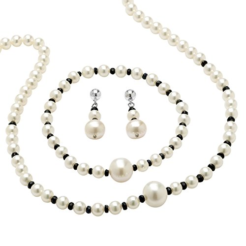 Genuine Blue Sapphire and Cultured Freshwater Pearl Necklace, Bracelet and Earrings Set 18