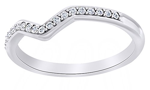 Round Cut White Natural Diamond V Curved Band Ring In 14K Solid White Gold (0.1 Ct),Ring Size-12.5 0.1 Ct Wedding Band