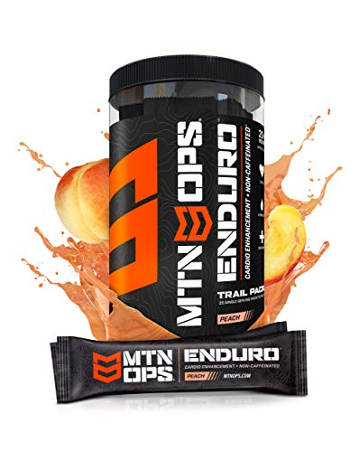 MTN OPS Enduro Cardio Energy Enhancement Supplement Trial Packs, Nitric Oxide Boost (No Crash), Peach Flavor, 20 Single-Serving Stick Packs