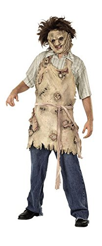 Men's Leatherface Latex Apron Chainsaw Massacre Scary Costume