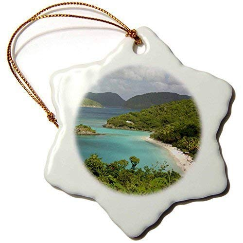 MurielJerome Keepsake USVI St. John Trunk Bay Virgin Islands Cindy Inspireds Snowflake Decorative Hanging Ornament, Porcelain, 3 Inch -