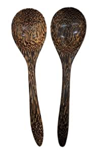 9 Palm Wood Wooden Cooking Spoons Kitchen Utensils Set of 2 by Land of Smile Handmade