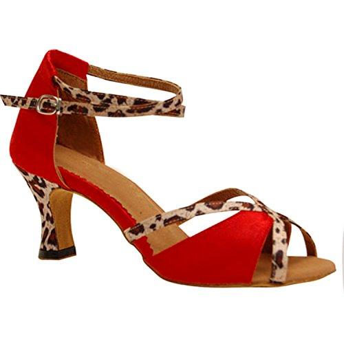 Shoesland Ballroom Shoes Toe Dance Red Women's Heel Latin Dance Salsa W898 Peep Tango Chunky 7trtwq