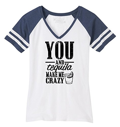 Comical Shirt Ladies You and Tequila Make Me Crazy Game V-Neck Tee