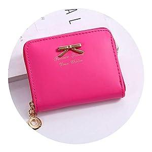 New Fashion Design Women Coin Case Cute Hot Wallet Bifold Short Mini Zipper Around Purse,Hot Pink