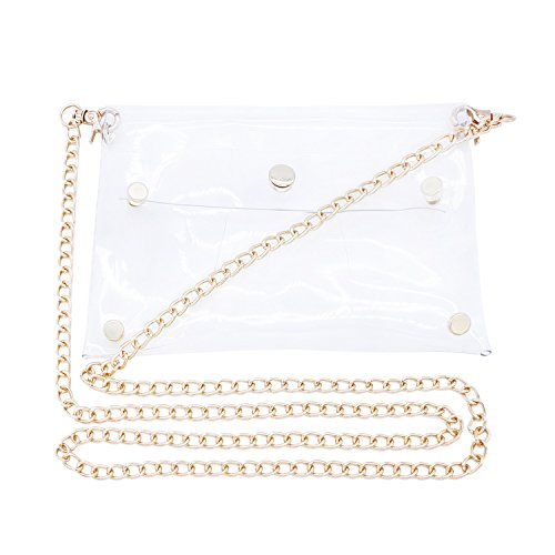 (Transparent Shoulder Bag PVC Messenger Clear Cross Body Bags with Gold Chain ...)