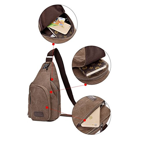 SODIAL pecho senderismo el deportes libre mochila casual caliente funciones de bolsa marron multiples hombro gran de en unisex bolsa de lona aire al mensajero de billetera bolsa fzfqrn
