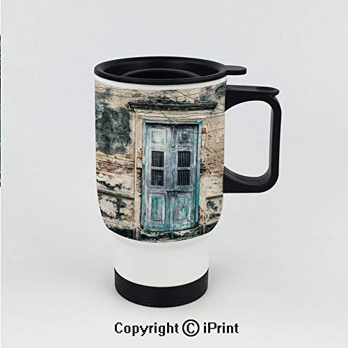 Car Cup Vacuum Insulated Keeps Hot Or Cold,Doors of An Old Rock House with French Frame Details in Countryside European Past Theme,Great for Home and Travel 15 OZ Travel Car Cup ()