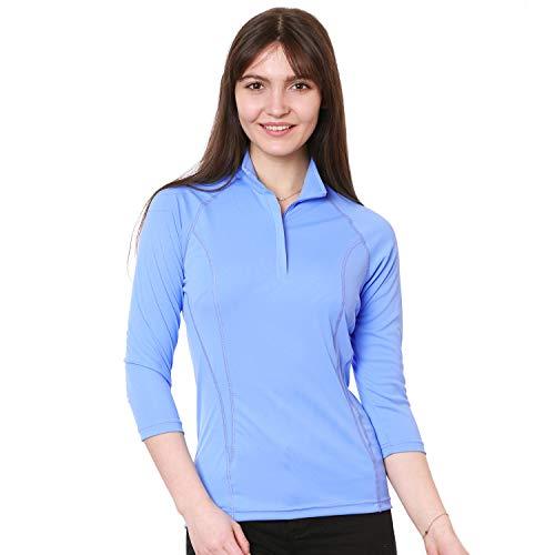 - Nozone Tuscany 3/4 Sleeve Sun Protective Women's Equestrian Shirt in Vista Blue, Medium