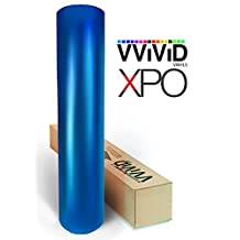 Blue satin chrome car wrap 2.5ft x 5ft with free tools stretch conform cast vinyl VVIVID8