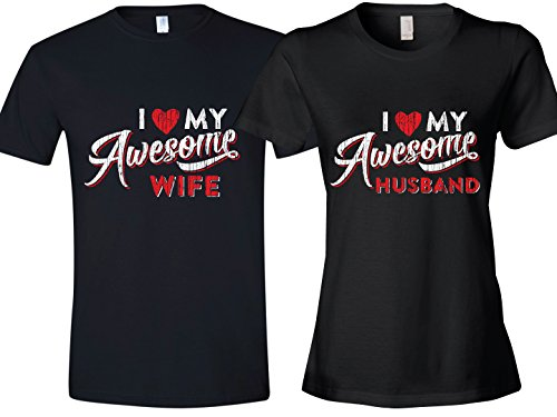 Texas Tees Gift for Couples, I Love My Awesome Husband, Ladies XX-Large & Mens Large