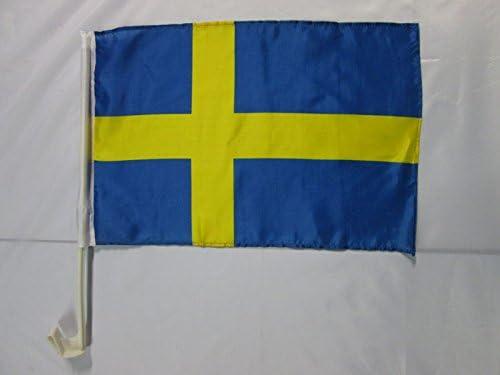 BANDERINA para Auto Sueca 30 x 45 cm AZ FLAG Bandera de Coche de Suecia 45x30cm