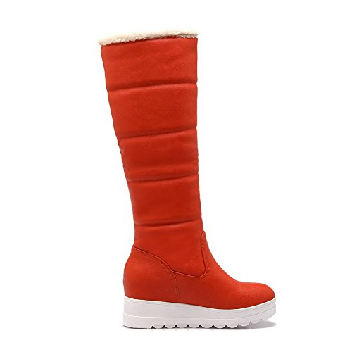 AgooLar Damen Rund Zehe Rein Blend-Materialien Stiefel Orange-Metallstück