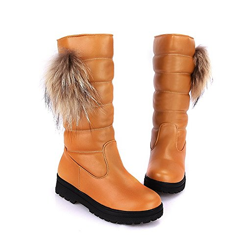 AmoonyFashion Womens Closed Round Toe Low Heels PU Short Plush Solid Boots with Thread and Platform Yellow pOKJUmt96g