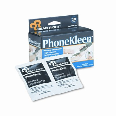 Read Right Phonekleen Wet Wipes, Cloth, 5 X 5, 18/Box [Set of 2] (Wet Wipes Phonekleen)