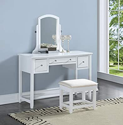 3-Piece Wood Make-Up Mirror Large Vanity Dresser Table and Stool Set, White from eHomeProducts