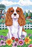 "Cheap Cavalier King Charles Spaniel – by Tomoyo Pitcher, Spring Dog Breed 28"" x 40"" Flag"