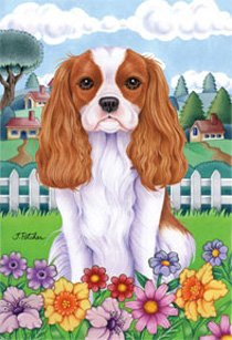 """Cheap Cavalier King Charles Spaniel – by Tomoyo Pitcher, Spring Dog Breed 28"""" x 40"""" Flag"""