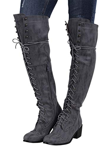 Syktkmx Womens Lace Up Stud Cuff Knee High Motorcycle Riding Military Chunky Heel - High Knee Stud