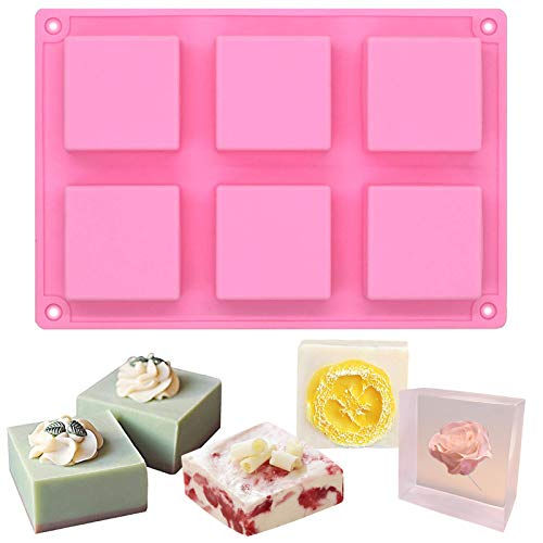 Funshowcase Square Baking Silicone Mold for Cake Teacake Chocolate Desserts Cheesecake Cornbread Brownie Blancmange Pudding Soap Candle Making Resin Epoxy Casting Wax Crafting Projects, 6-Cavity