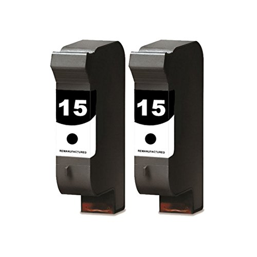 YATUNINK Replacement 15 (2Black) Ink Cartridges Work WithDeskjet / FAX / Officejet / PSC Series Printer