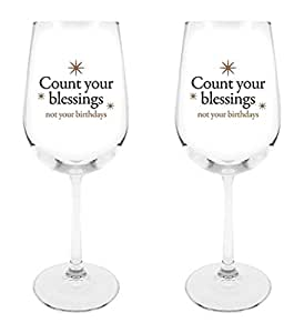 Count Your Blessings Not Your Birthdays Star Design Wine Glass, 18 1/2 oz, Set of 2