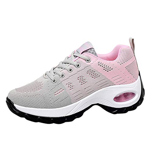 Shusuen Women's Leisure Mesh Thick Bottom Athletic Sneakers Hidden Heel Summer 2019 Shoes Loafers Pink
