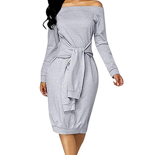 HITRAS Dress!Fashion Women Elegant Casual Long Sleeve Fake Two Pieces Solid Dress