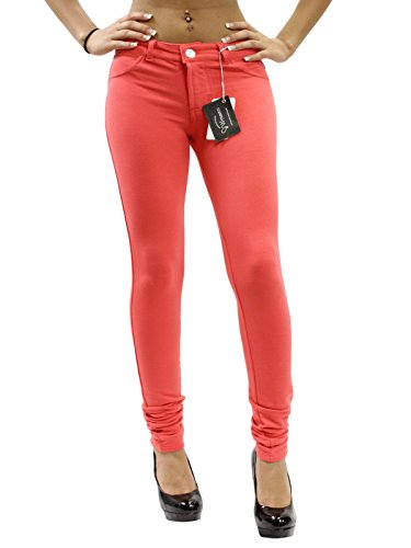 301f3d3c08 JW Maxx Jeans Juniors Skinny Jeggings Stretch Cotton Casual Pants (Coral,  Small)