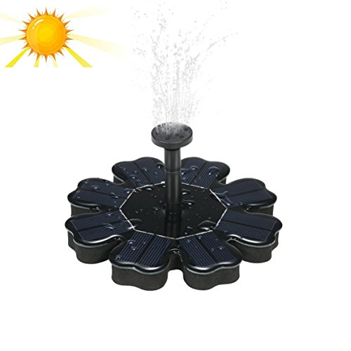 Kyson Solar Fountain Pond Pump Bird Bath Fountains Outdoor Watering Submersible Water Floating Pump Kit with Different Spray Heads for Fish Tank Aquarium Pond Pool Garden Decoration