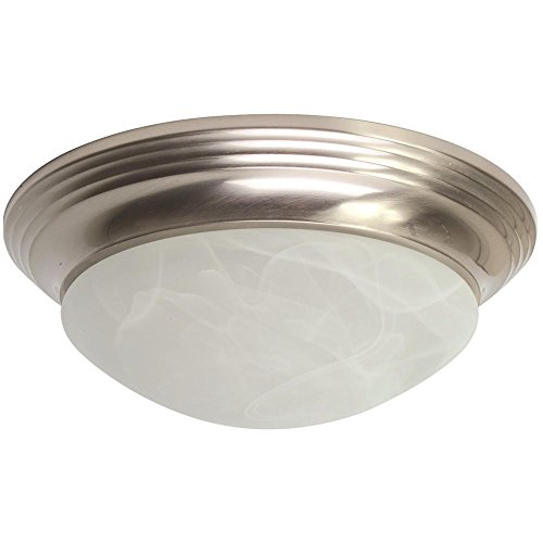 - Monument 2498704 LED Flush Mount Ceiling Fixture, Alabaster Swirl Glass 12-Watt Led Chip included, Brushed Nickel