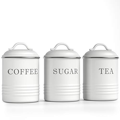 """Barnyard Designs Decorative Kitchen Canisters with Lids White Metal Rustic Vintage Farmhouse Country Decor for Sugar Coffee Tea Storage (Set of 3) (4"""" x 6.75"""")"""