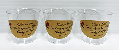 50 PERSONALIZED 1oz. PLASTIC SHOT Cups for Bar at Wedding, or any Party/Event, Rustic Themed, Disposable cups makes great party favors or supply!