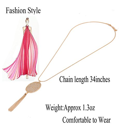 Long Necklaces for Women Disk Oval Pendant Necklace Bohemia Tassel Necklace Set Fashion Y Necklaces Statement Jewelry (Oval-Gold) by LPON (Image #4)