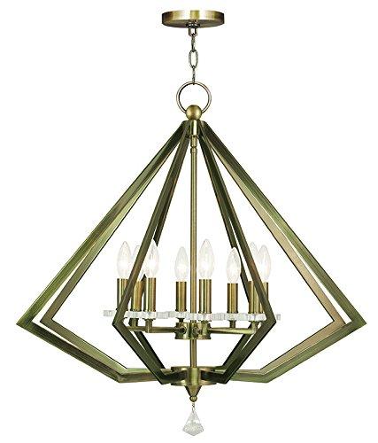 Brass 1 Light Chandelier (Livex Lighting 50668-01 Diamond 8-Light Chandelier, Antique Brass)