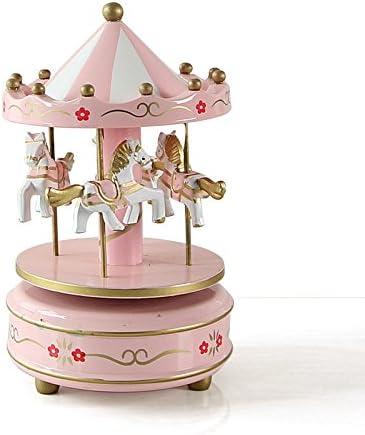 SU@DA Europäischen Stil aus Holz Spieldose Karussell Spieluhr Deko-Ideen Geschenke Mädchen Kinder Geburtstagsgeschenke , 14 , 18cm