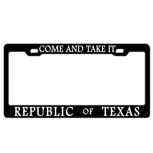 Come and Take It Republic of Texas Black Custom License Plate Frame Premium Quality Stainless Steel License Plate Covers for US Vehicles 2 Hole and Screws ()