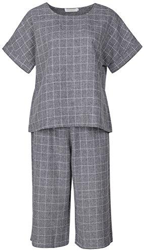 QZUnique Women's Summer Fashion Wide Leg Pants Plus Grid Short Sleeves Suits Grey US 16W by QZUnique